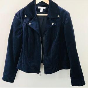 Chico's beautiful navy blue velvet jacket blazer
